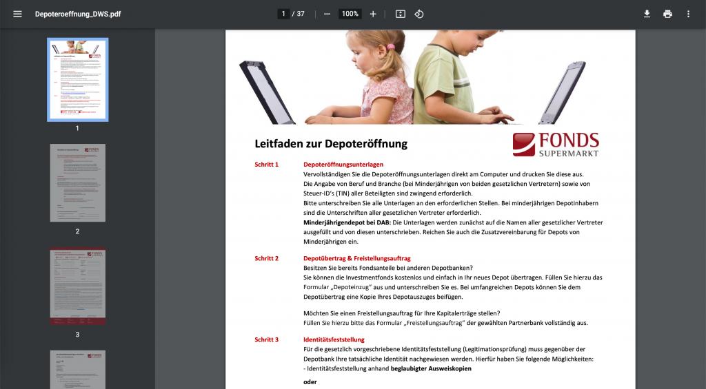 PDF-Ansicht DWS Kautionsdepot eröffnen